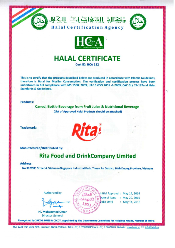 HALAL  for RITA juice company