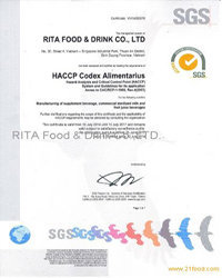 HACCP for RITA juice company