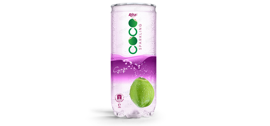 Sparking coconut water with grape flavor 250ml Pet can