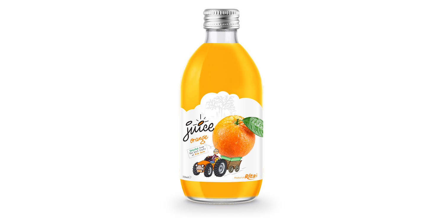glass 320ml fruit orange juice private label brand