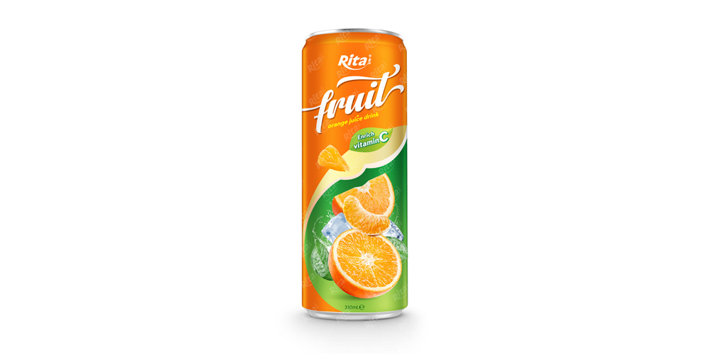 fruit orange juice enrich vitamin C in 320ml tin can