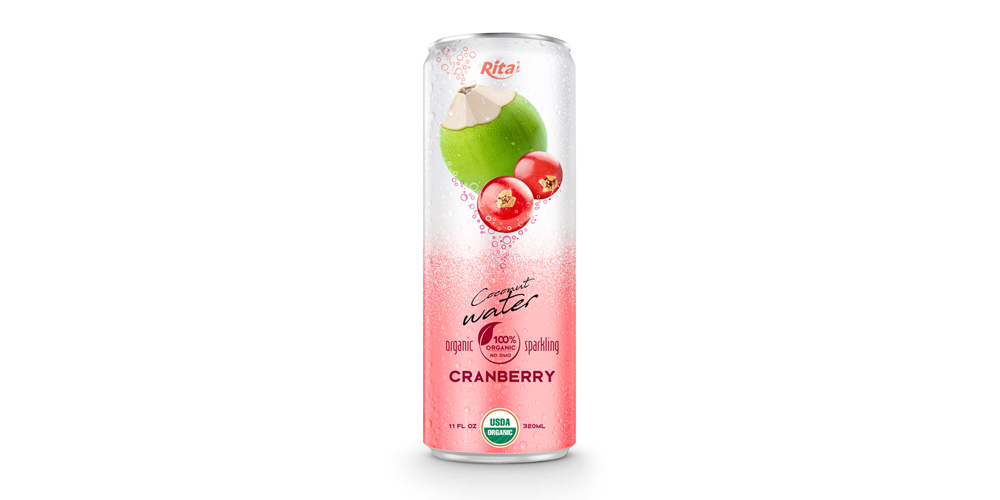 Coco Organic Sparkling with cranberry in  320ml  can