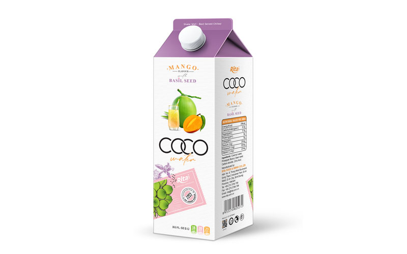 Wholesale NFC Coconut  water basil seed with mango flavour