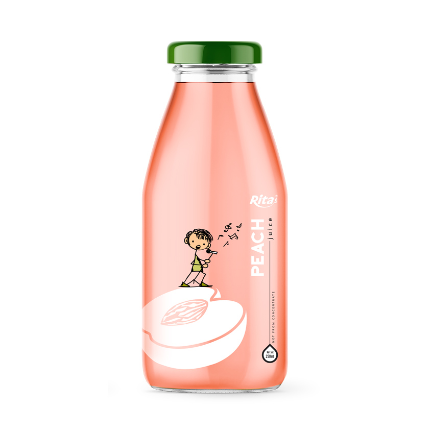 250ml glass bottle peach fruit juice