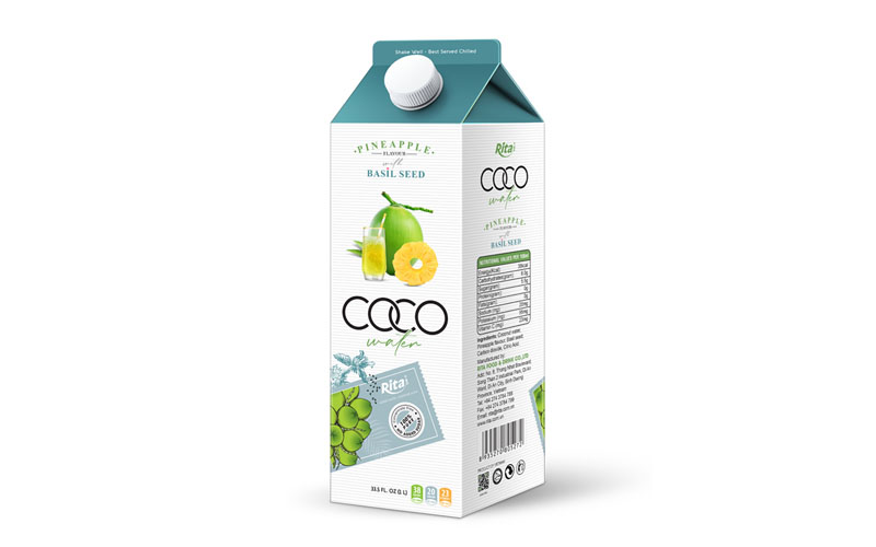 Wholesale NFC Coconut water basil seed with pineapple flavour 1L