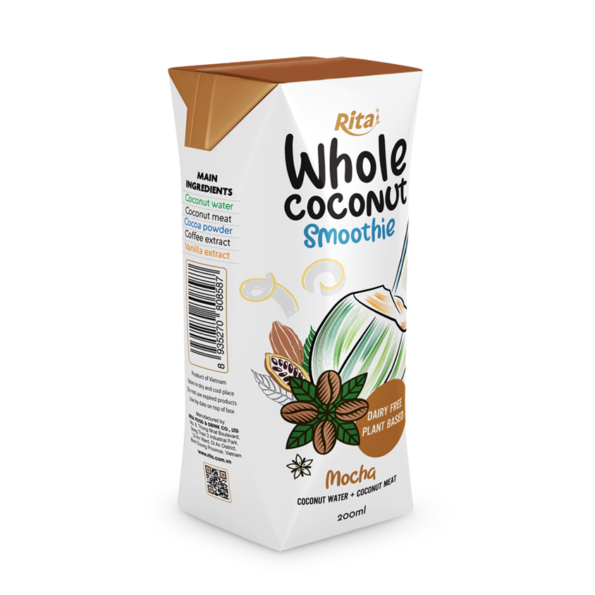 200ml aseptic Mocha Coconut Smoothie with coconut meat