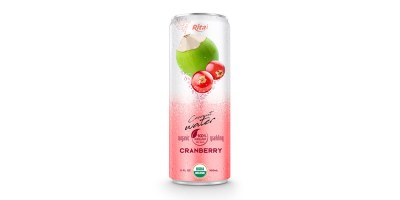 Coco Organic Sparkling with cranberry 320ml in can form RITA US