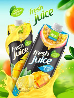 fresh fruit juice in PP paper
