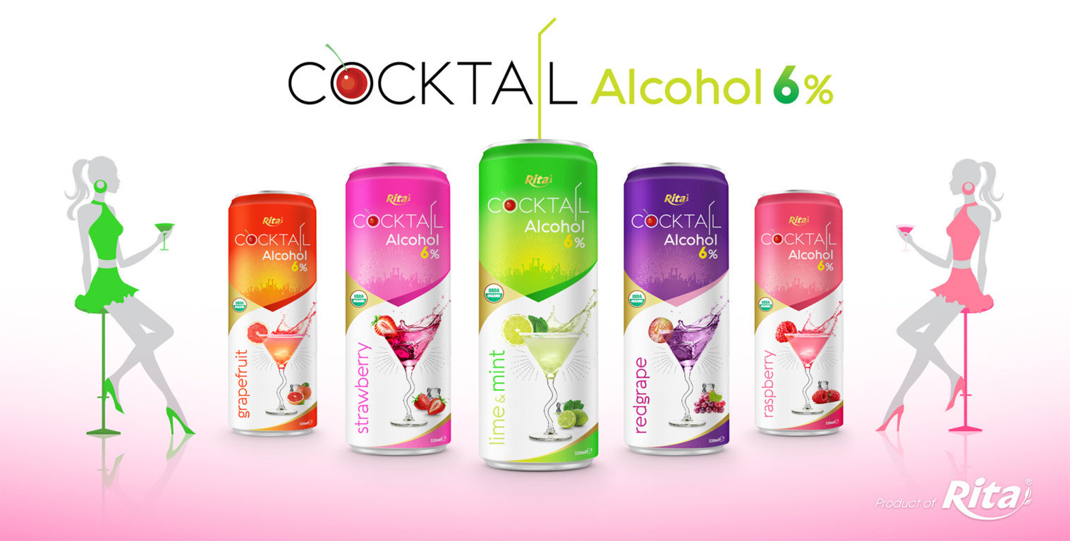 Cocktail 6% alcohol with red grape flavour 320ml